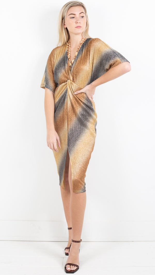 Desiree Metallic Dress - Ombre Bronze