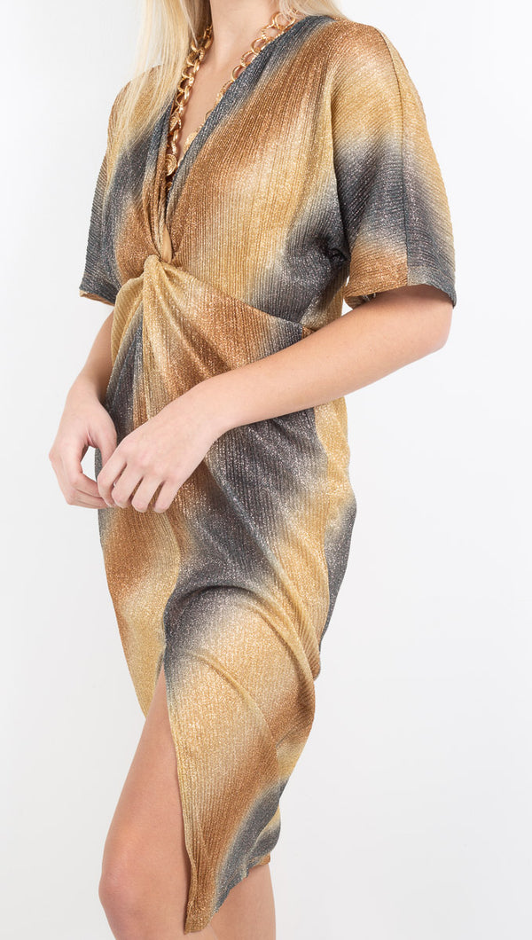 Vagabond Knotted Front Dress Ombre Bronze