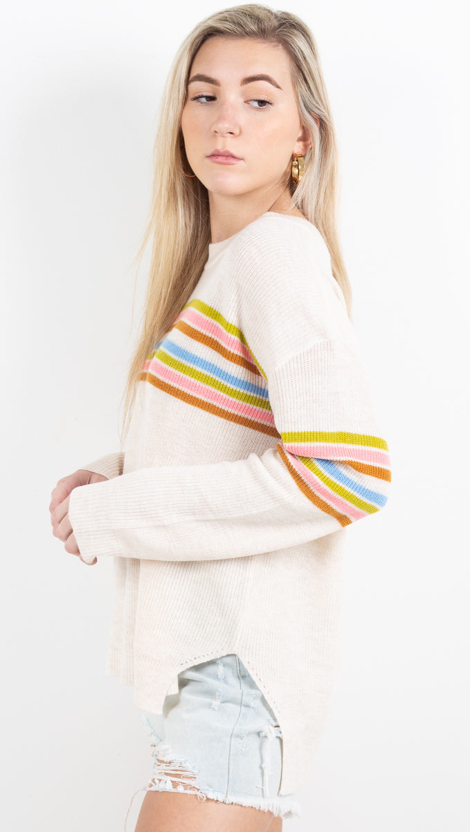 Lighthouse Knit Sweater - Cream Multi
