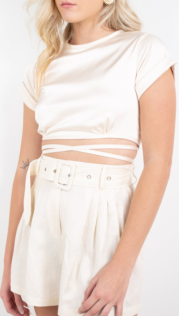 Vagabond Cream Wrap Top