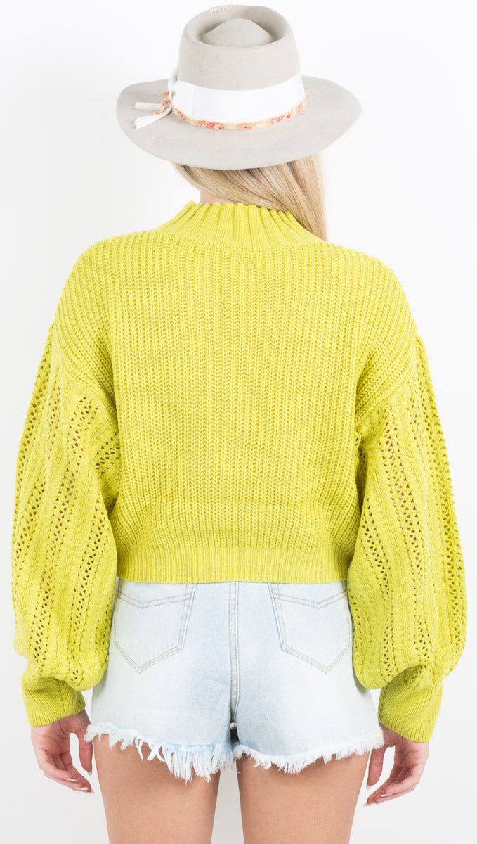 Chiara Mock Neck Sweater - Lime
