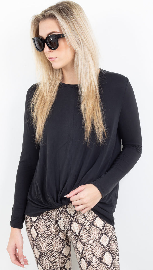 Macy Knotted Front Top - Black