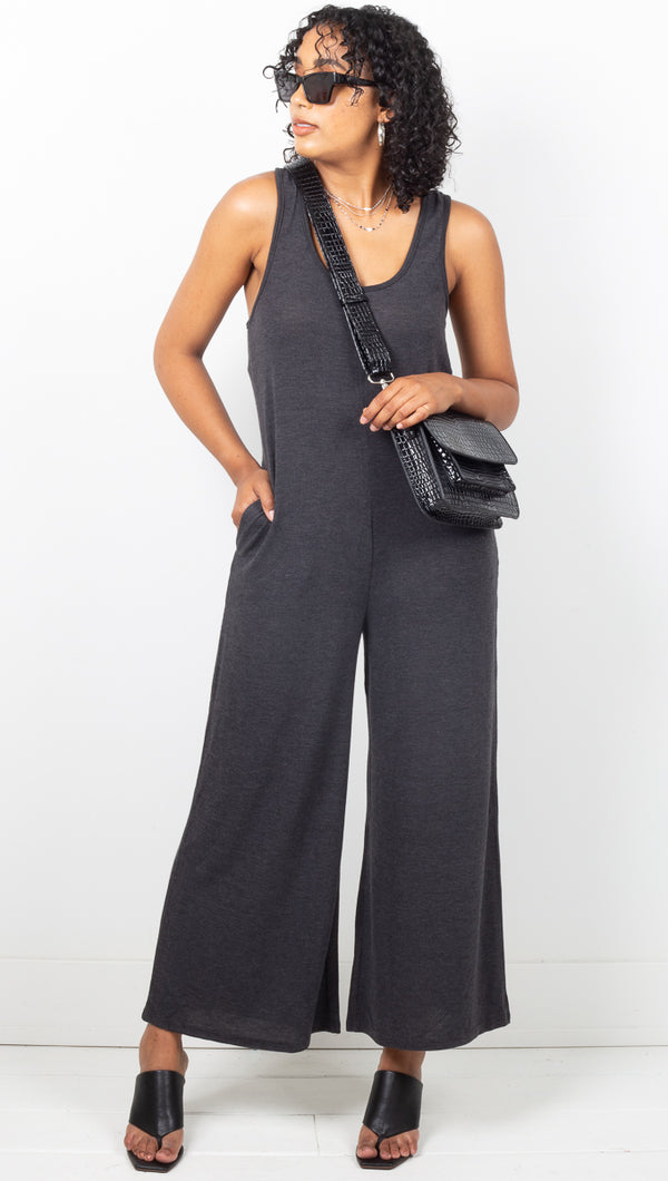 Vagabond Grey Loose Fit Wide Leg Jumpsuit
