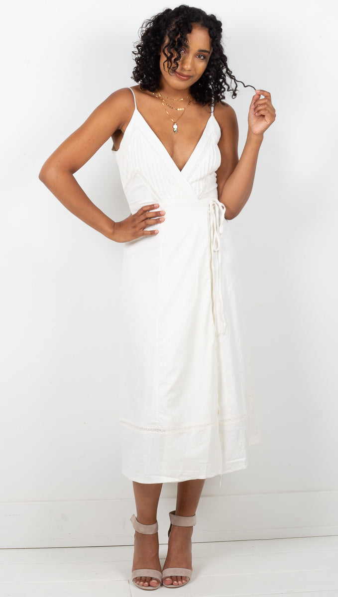 Sonoma Deep V-Neck Wrap Dress - White