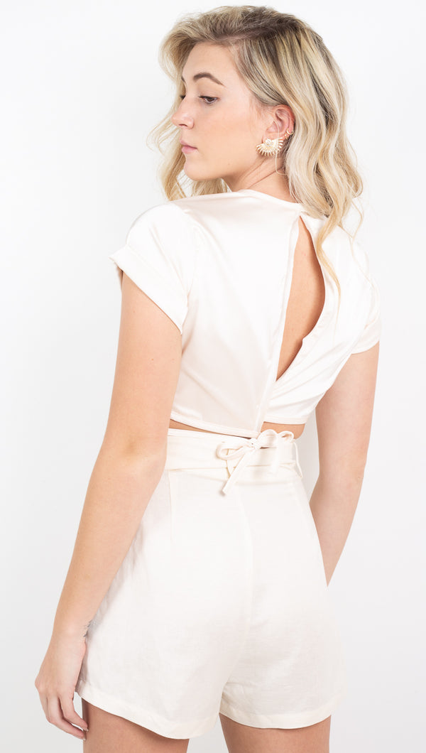 Raquel Tie Crop Top - Cream