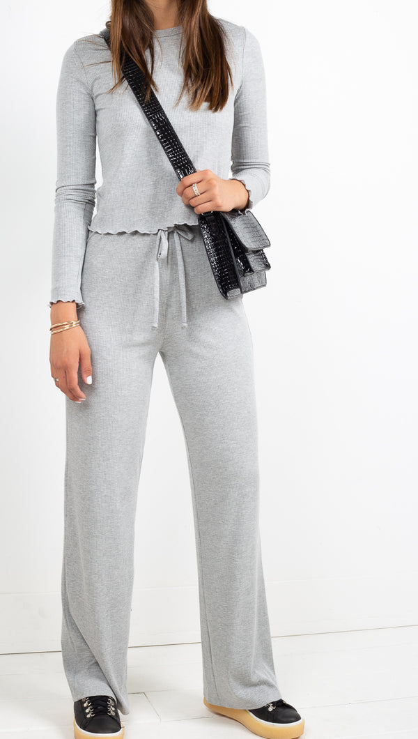 Vagabond Ribbed Grey Long Sleeve with Matching High Rise Soft Pants