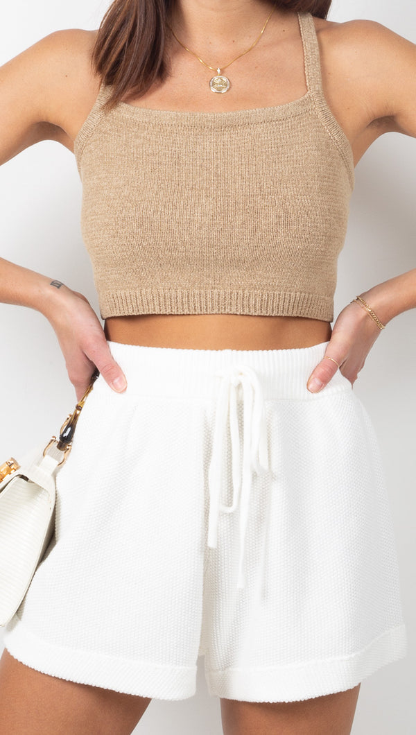 Vagabond White High Rise Knit Shorts