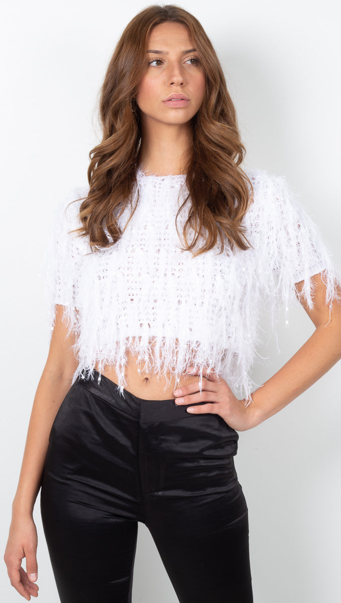 Lili Knit Crop Top - Off White