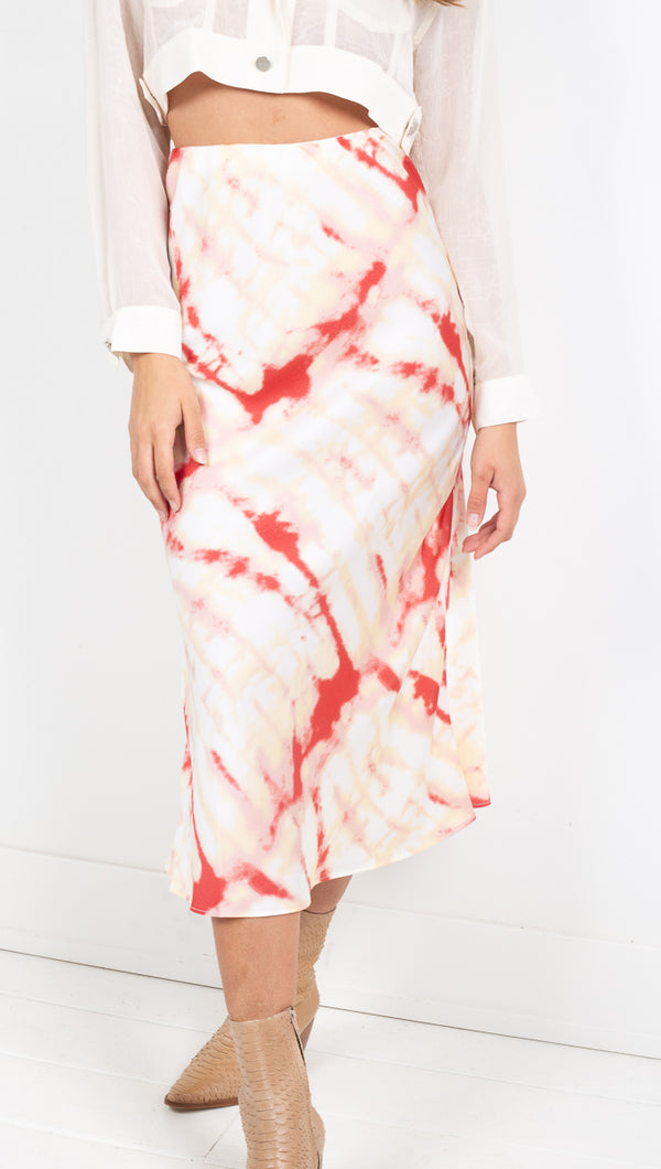 Mollie Satin Midi Skirt - Cream Red Tie Dye