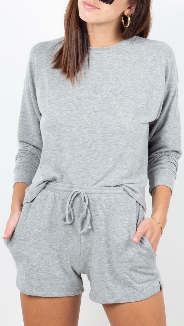 Vagabond Grey Long Sleeve and Soft Shorts Matching Set