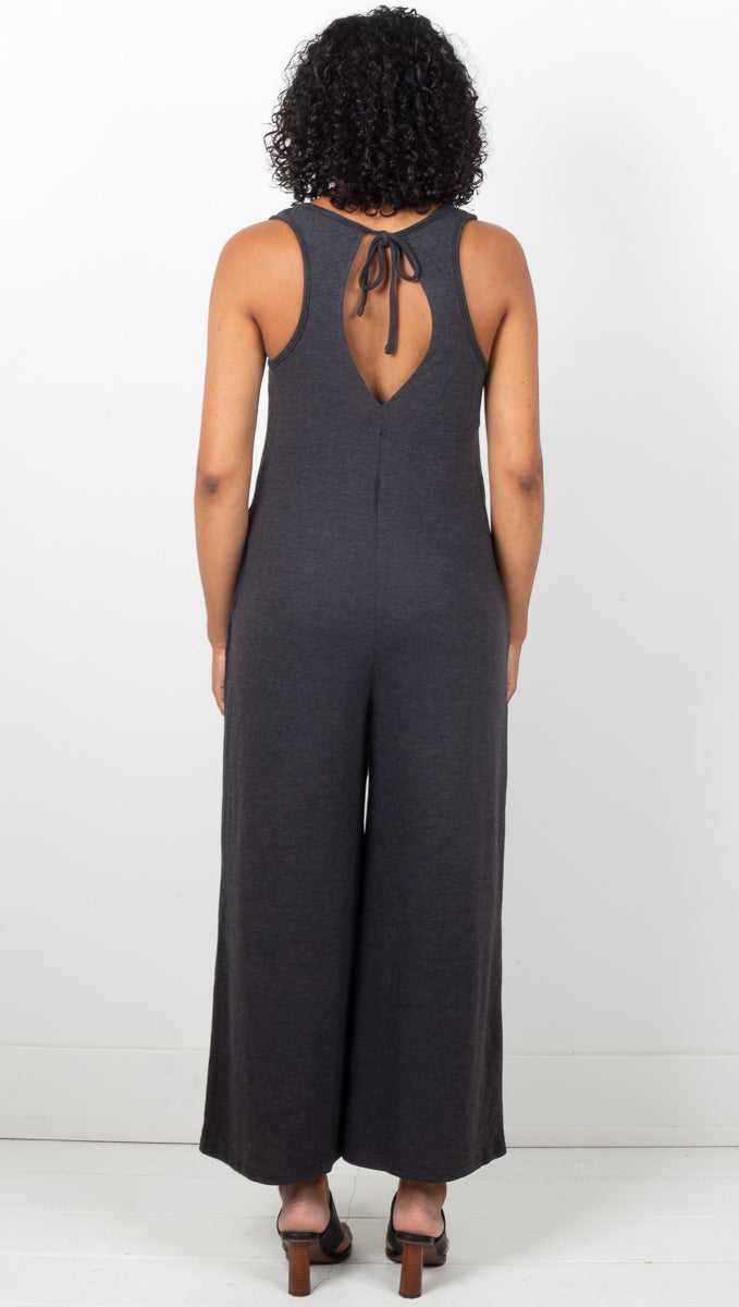 Sarah Rib Jumpsuit - Deep Grey
