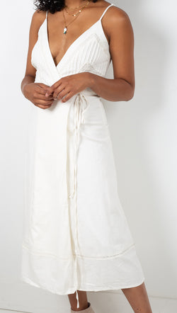Vagabond White Cotton Wrap Tank Midi Dress