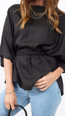 Vagabond Black Short Sleeve Blouse with Fabric Belt