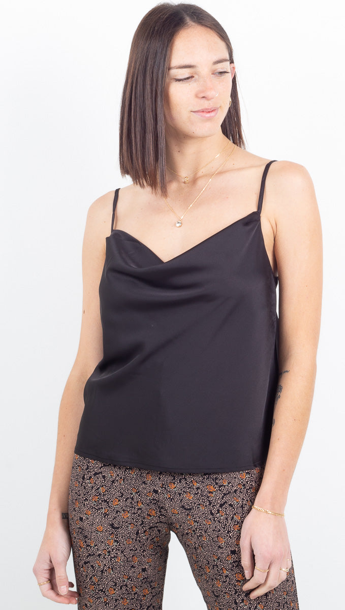 Everly Cowl Neck Tank - Black