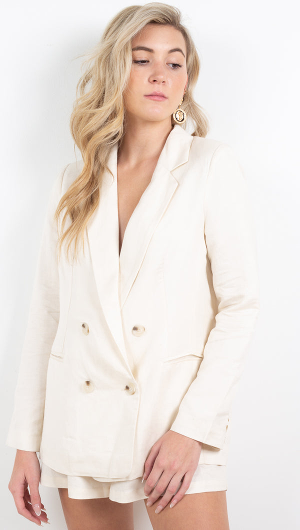 Ria Linen Jacket - Off White