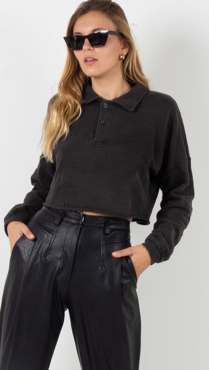 Blake Collared Crop Long Sleeve - Charcoal