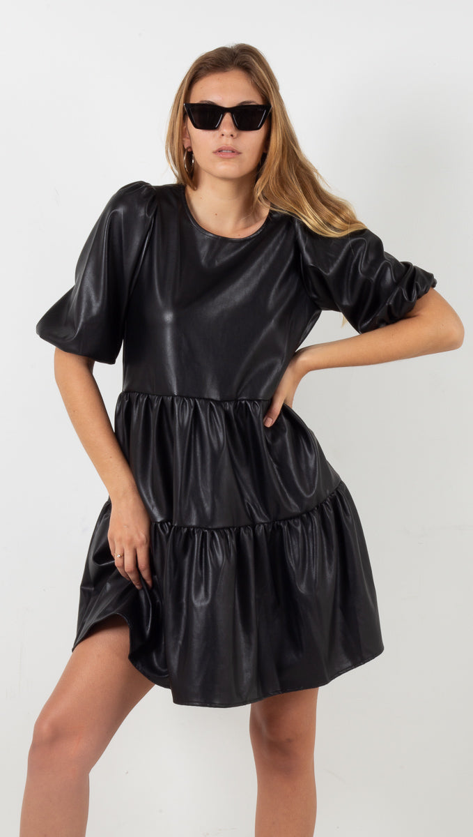 Jade Vegan Leather Mini Dress - Black