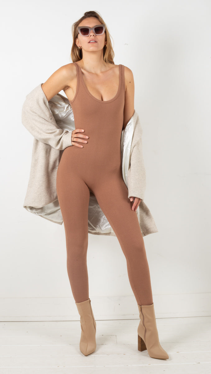 Ribbed Jumpsuit - Brown