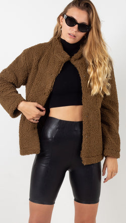 Reese Teddy Sherpa Jacket - Toffee