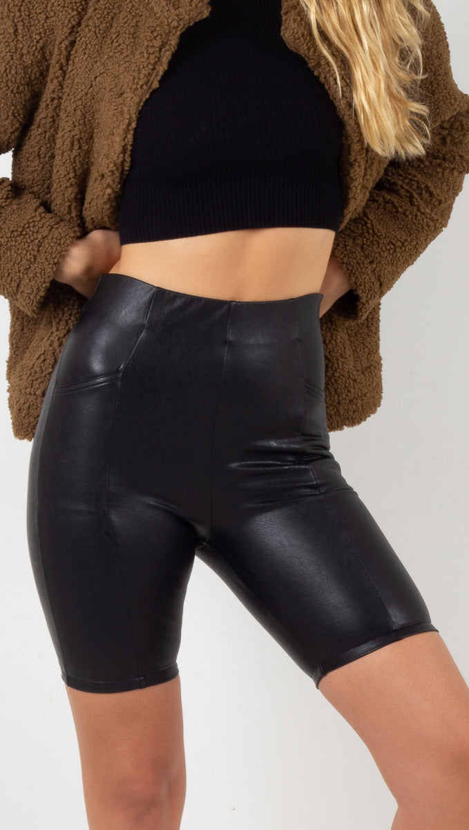 Vegan Leather Biker Shorts - Black