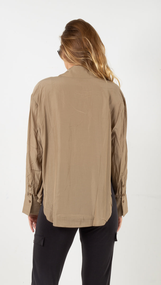 Long Sleeve Button Down - Khaki