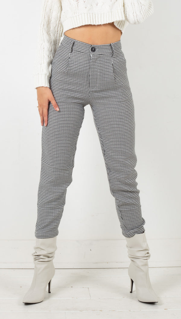 Mercer Houndstooth Pants - Black/White
