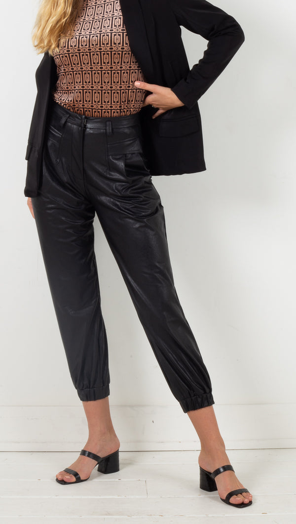 Kiera Vegan Leather Joggers - Black