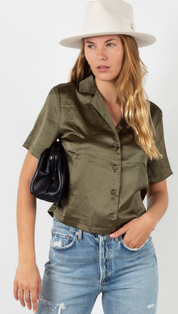 Megan Short Sleeve Button Down - Moss