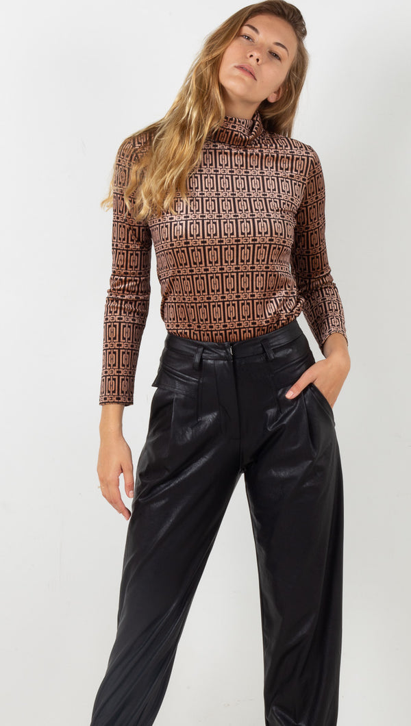 Tunia Geometric Blouse - Nude