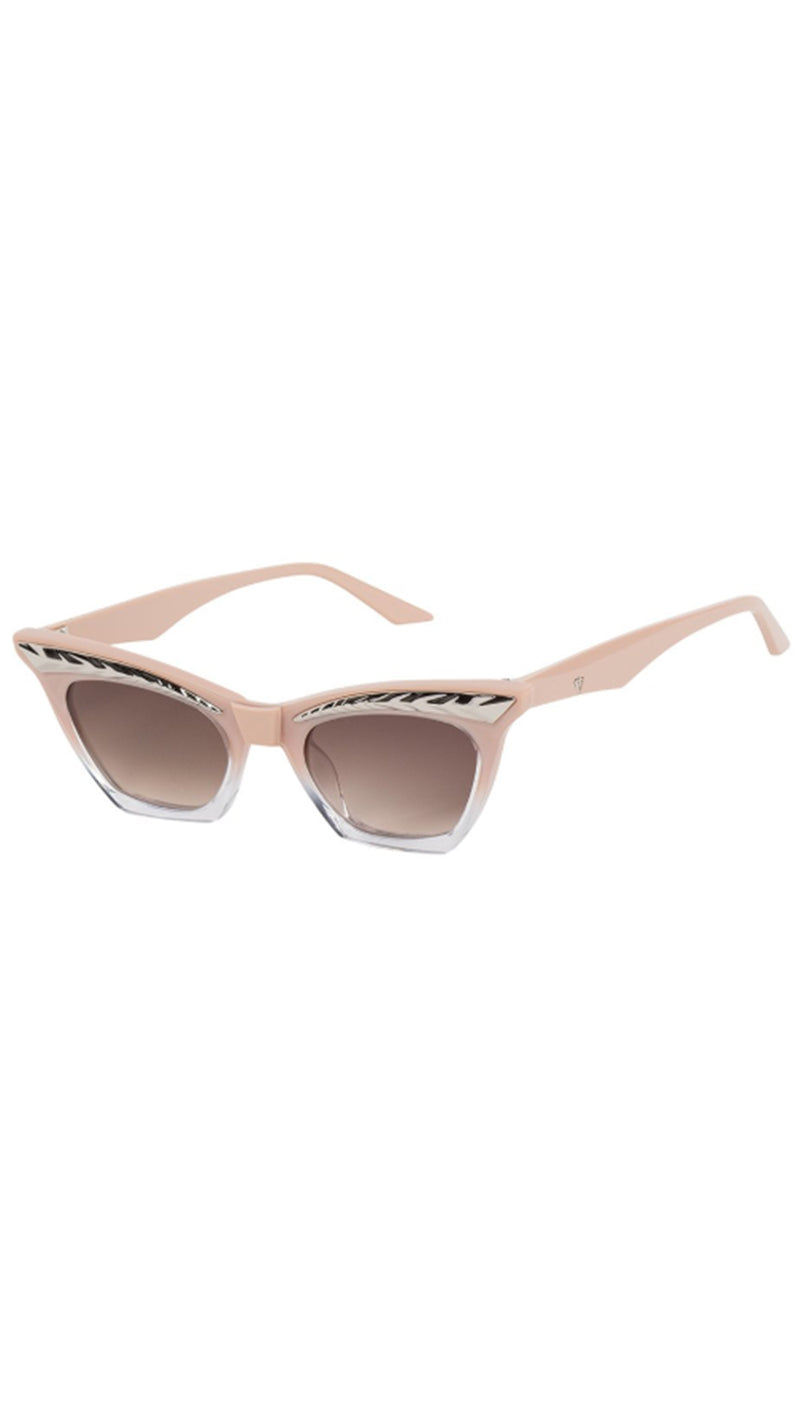 Seylah - Dusty Pink To Clear With Silver Metal Trim/Brown Gradient Lens