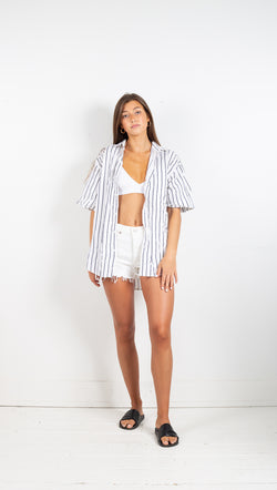Vintage Boyfriend Button Down Shirt - Blue/White Stripe