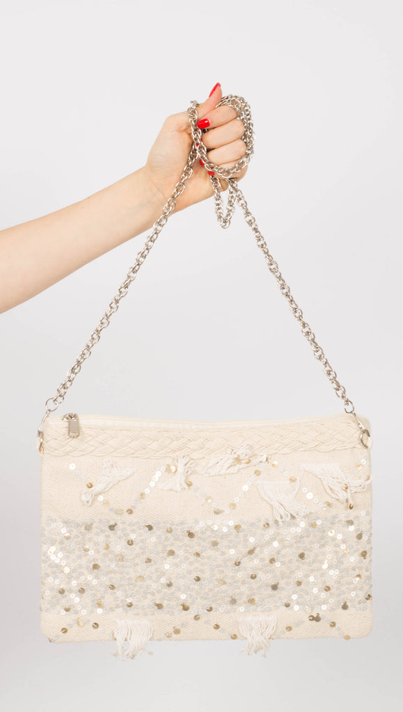 Embellished Dhurrie Clutch - Cream