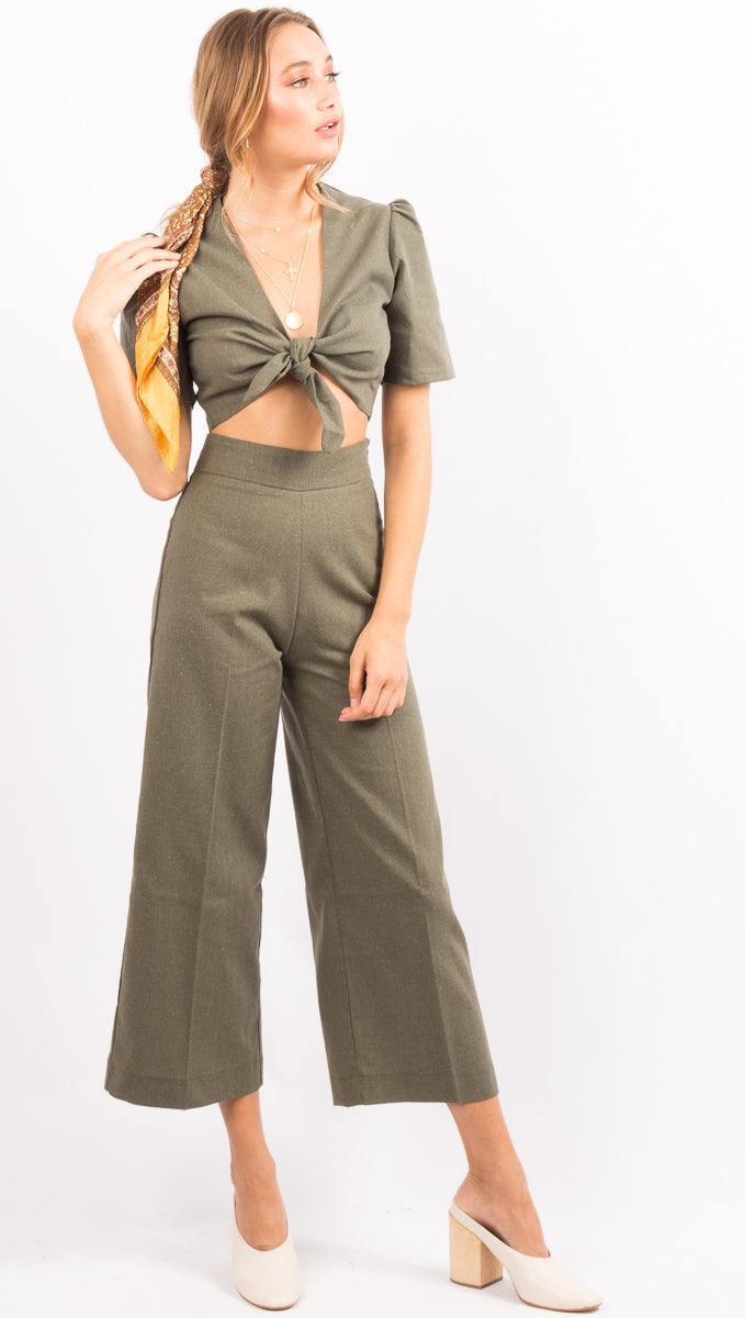 Khaki Green High Waist Pants