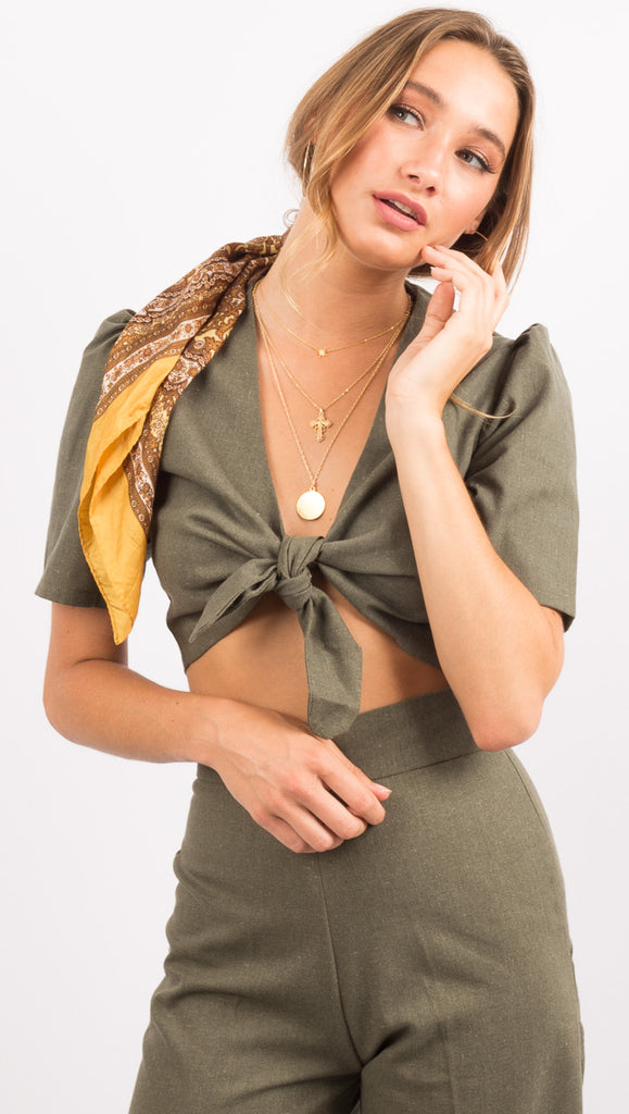 Khaki Green Tie Front Crop Top