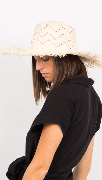 Straw Hat with burgundy pattern