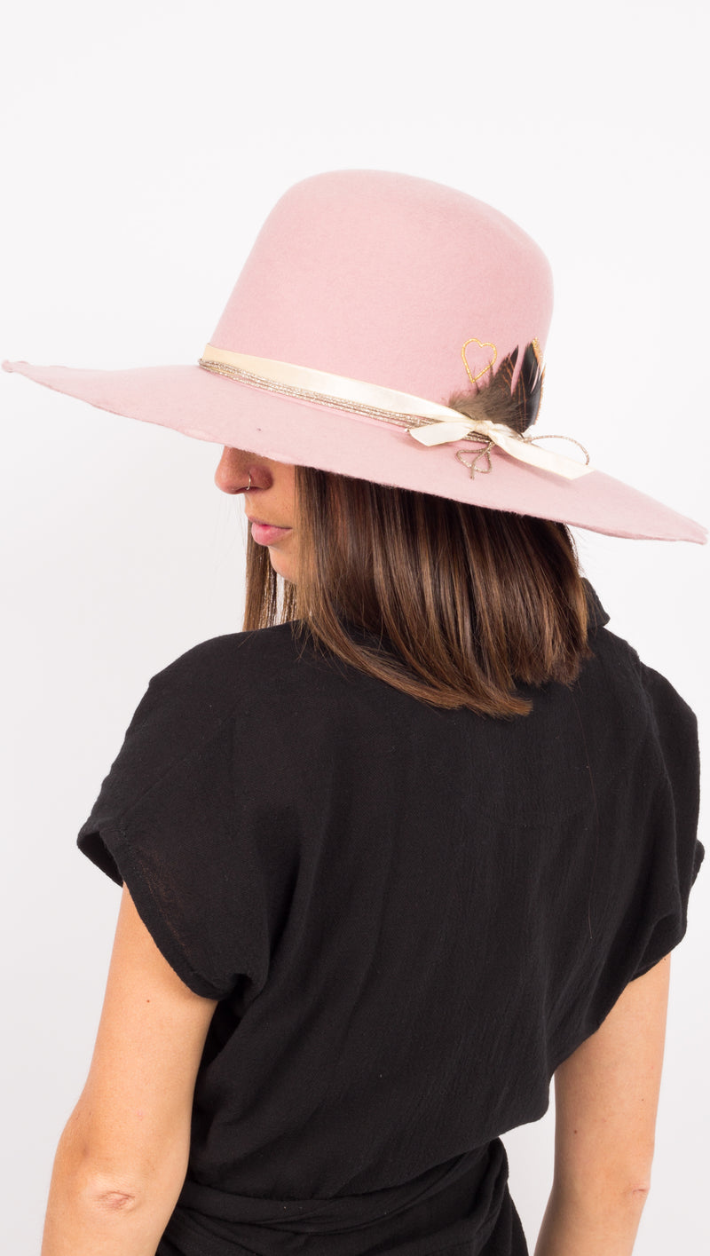 Pink Wool Wide Brim hat with feather