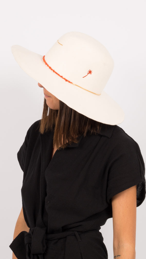 cream wide brim hat with palm tree embroidery
