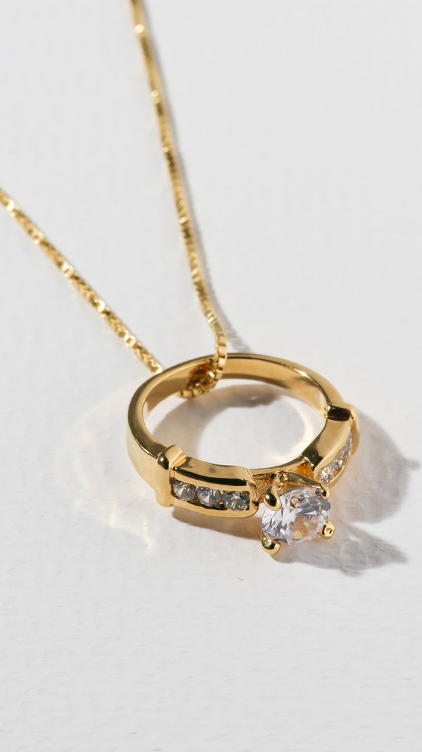 Vanessa Mooney Gold Necklace With Crystal Ring Charm