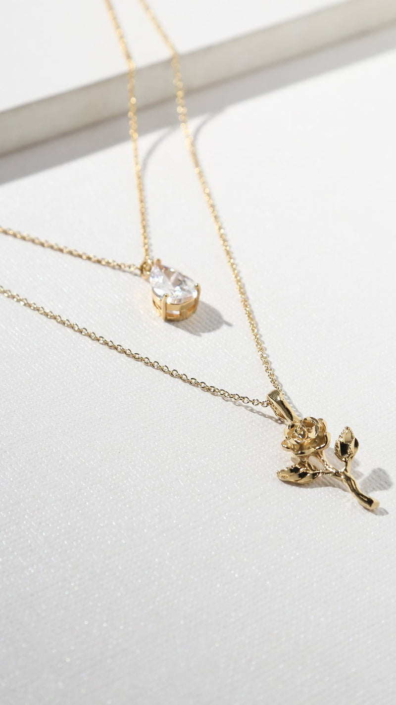 The Rose Diamond Necklace - Gold