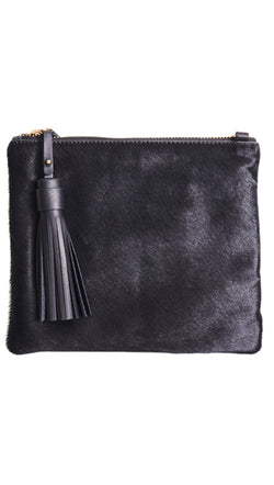 Vash Black Hide Clutch