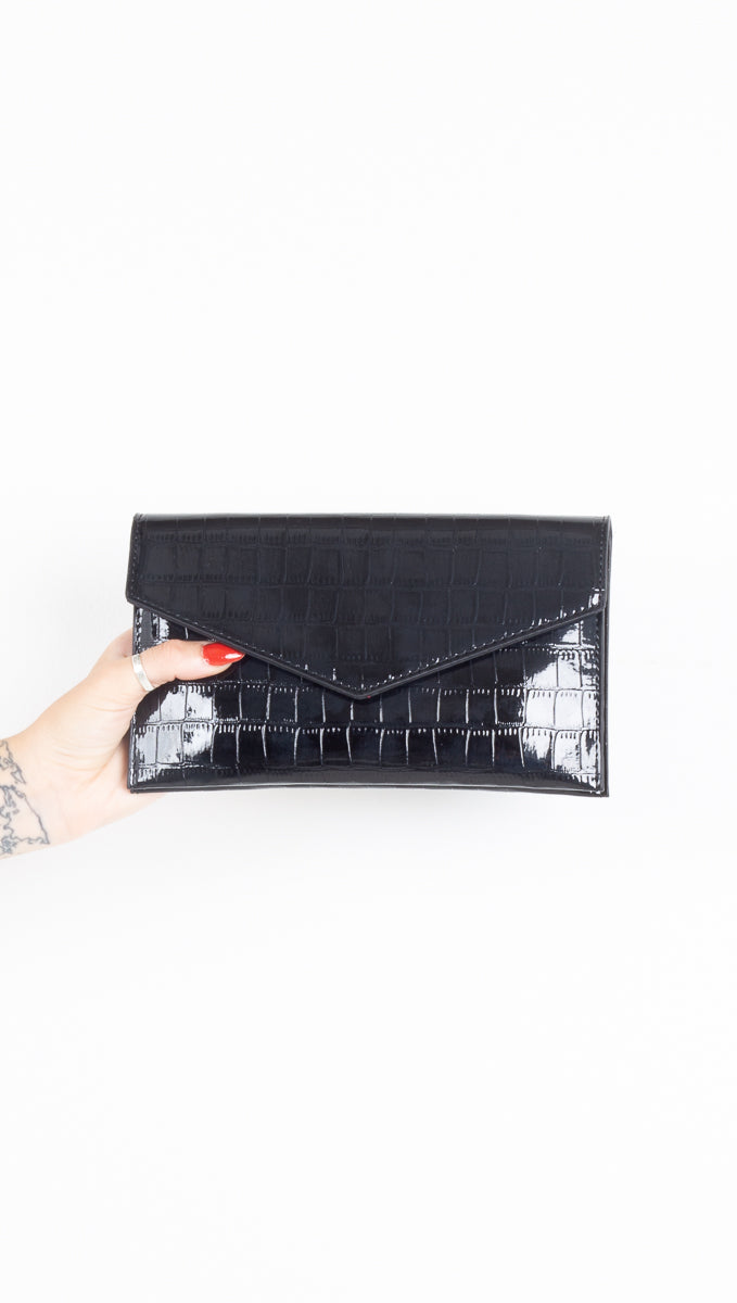 black vegan patent leather crocodile envelope clutch with chain
