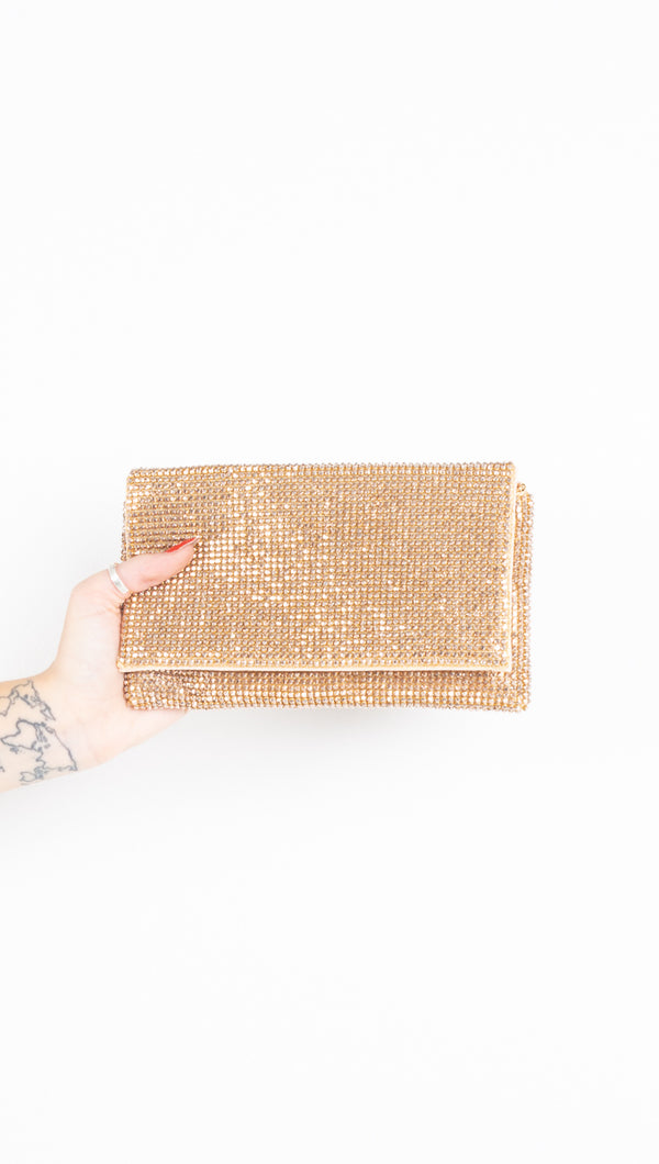 rose gold crystal clutch/crossbody