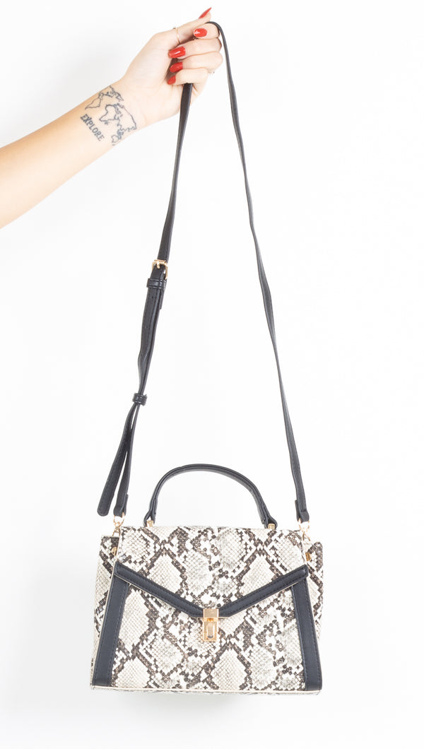 Don't Be A Snake Mini Tote Crossbody - Black/White