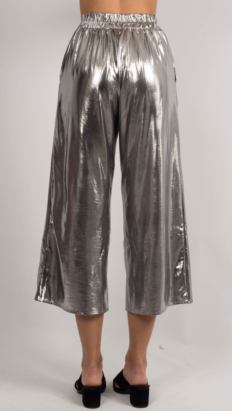 VDV The Label Metallic Silver Culotte Pants