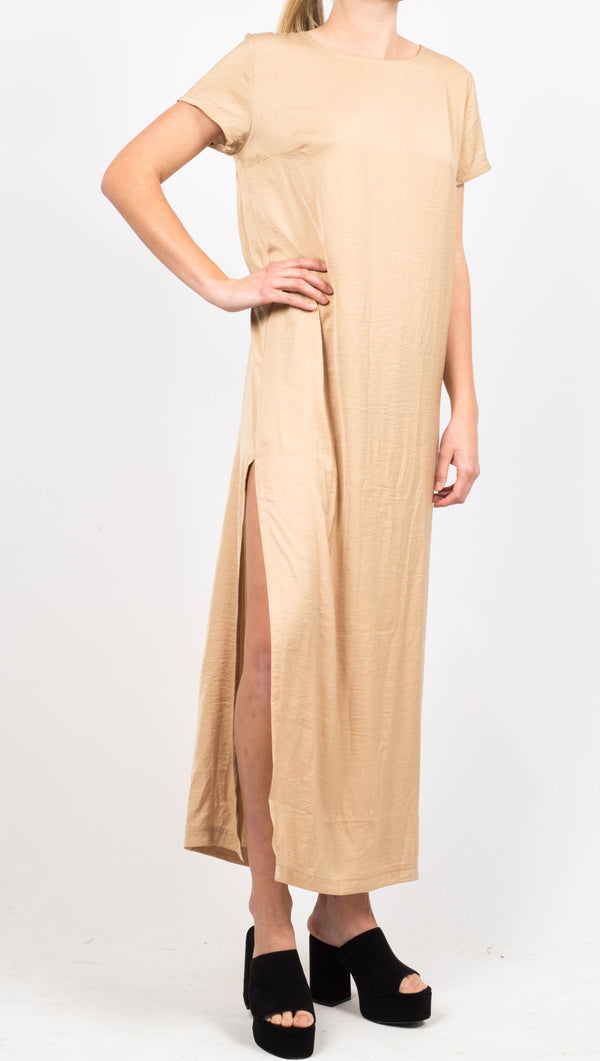 Gold Maxi Dress With Side Leg Slit