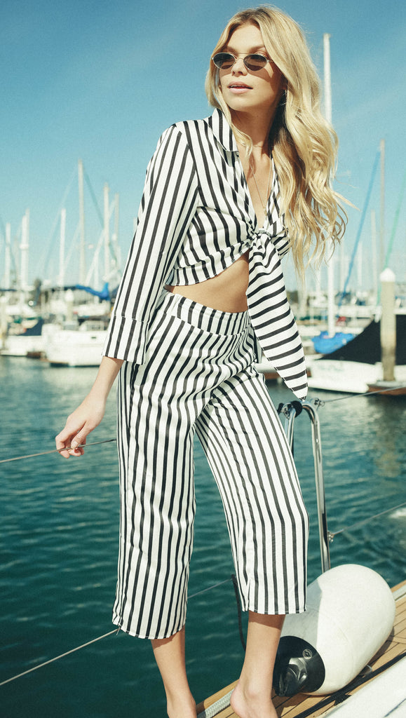 Black/White Stripe Culotte Pants