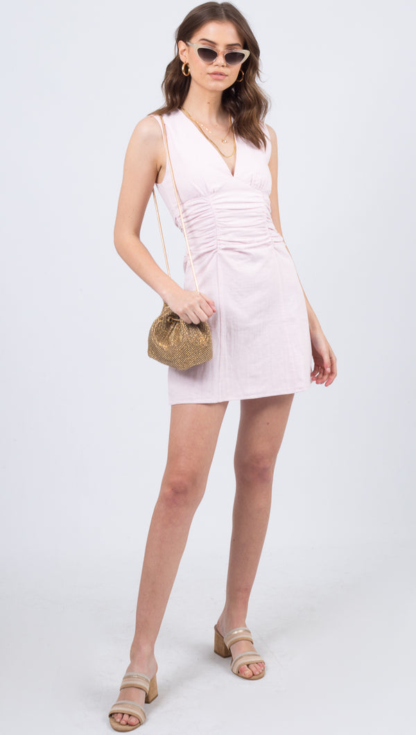 Vestire Pink Linen Ruched Mini Dress