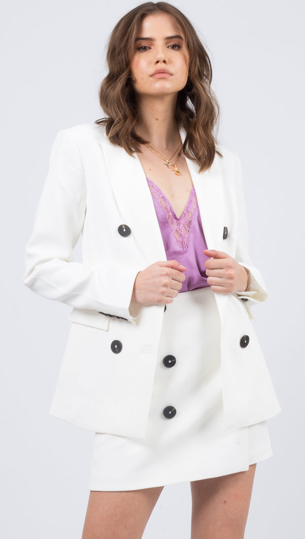 Vestire White Blazer With Black Buttons