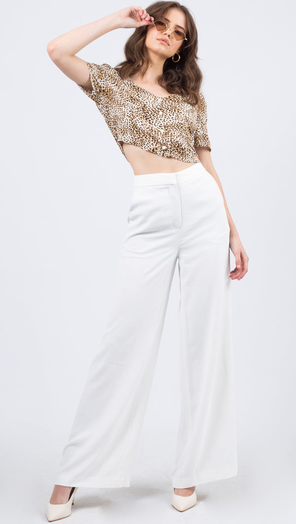 Vestire White High Rise Flare Pant