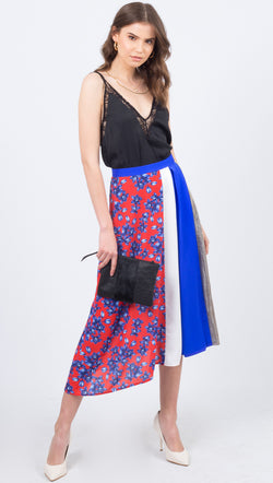 Vestire Blue And Red Floral High Rise Midi Skirt